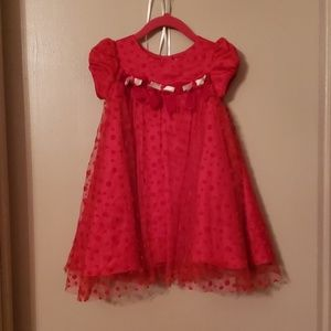 Red lace polka dot dress w/bows & rosebud detail